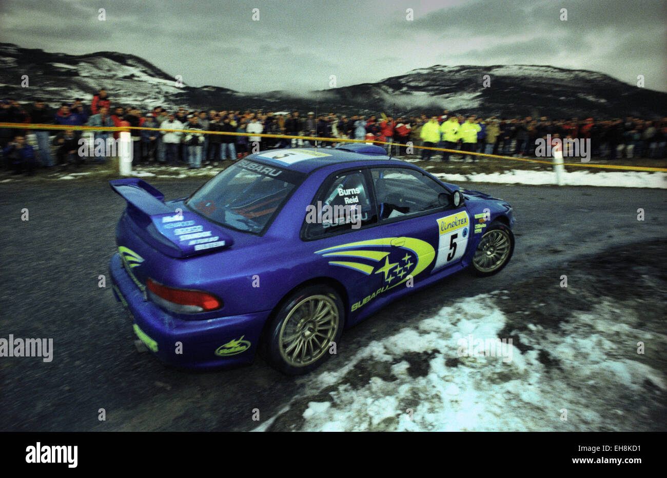 richard burns driving his subaru impreza wrc on a stage of the 1999 stock photo royalty free. Black Bedroom Furniture Sets. Home Design Ideas