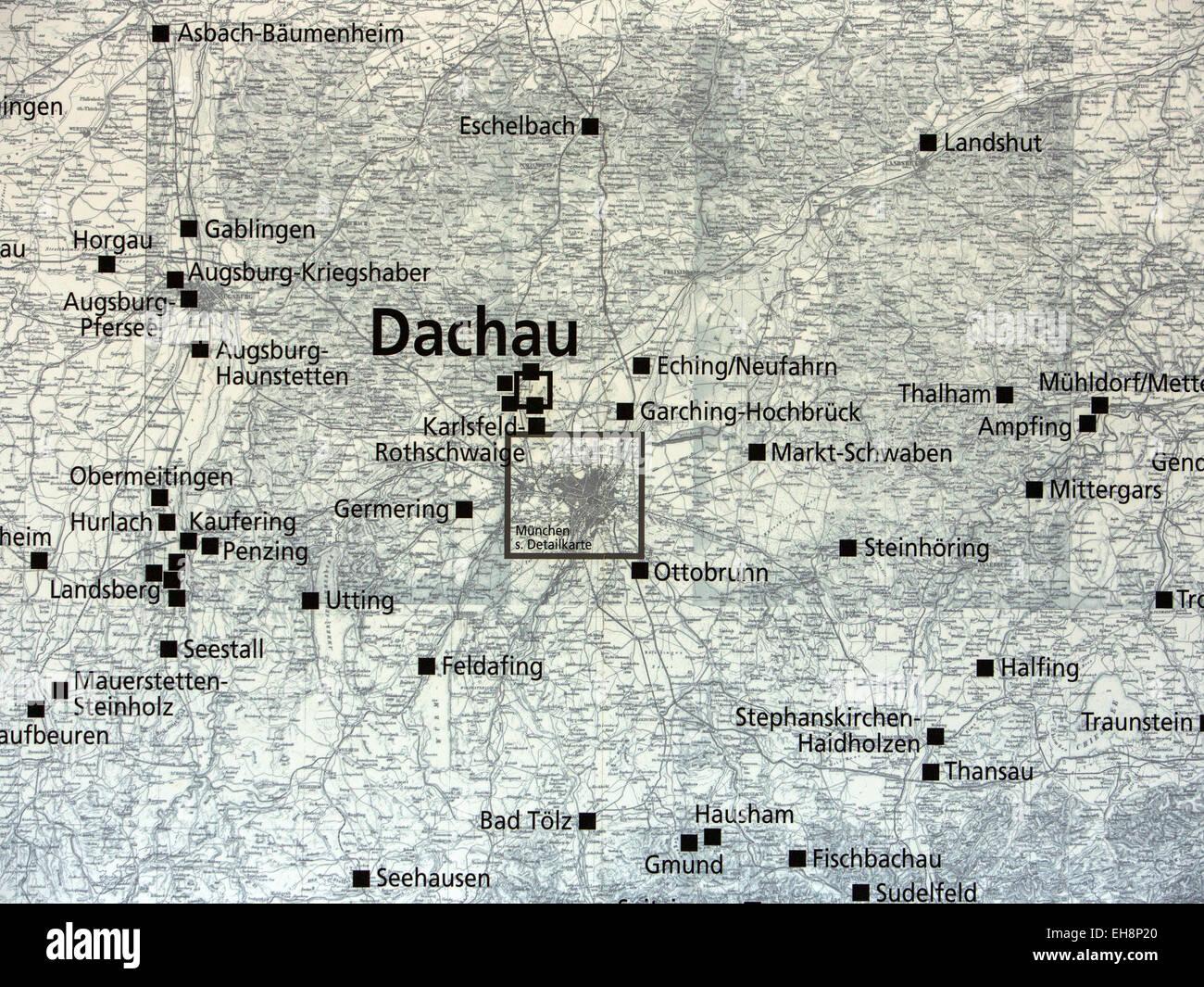 Munich Germany Map Of Dachau Concentration Camp Stock Photo - Germany map of concentration camps