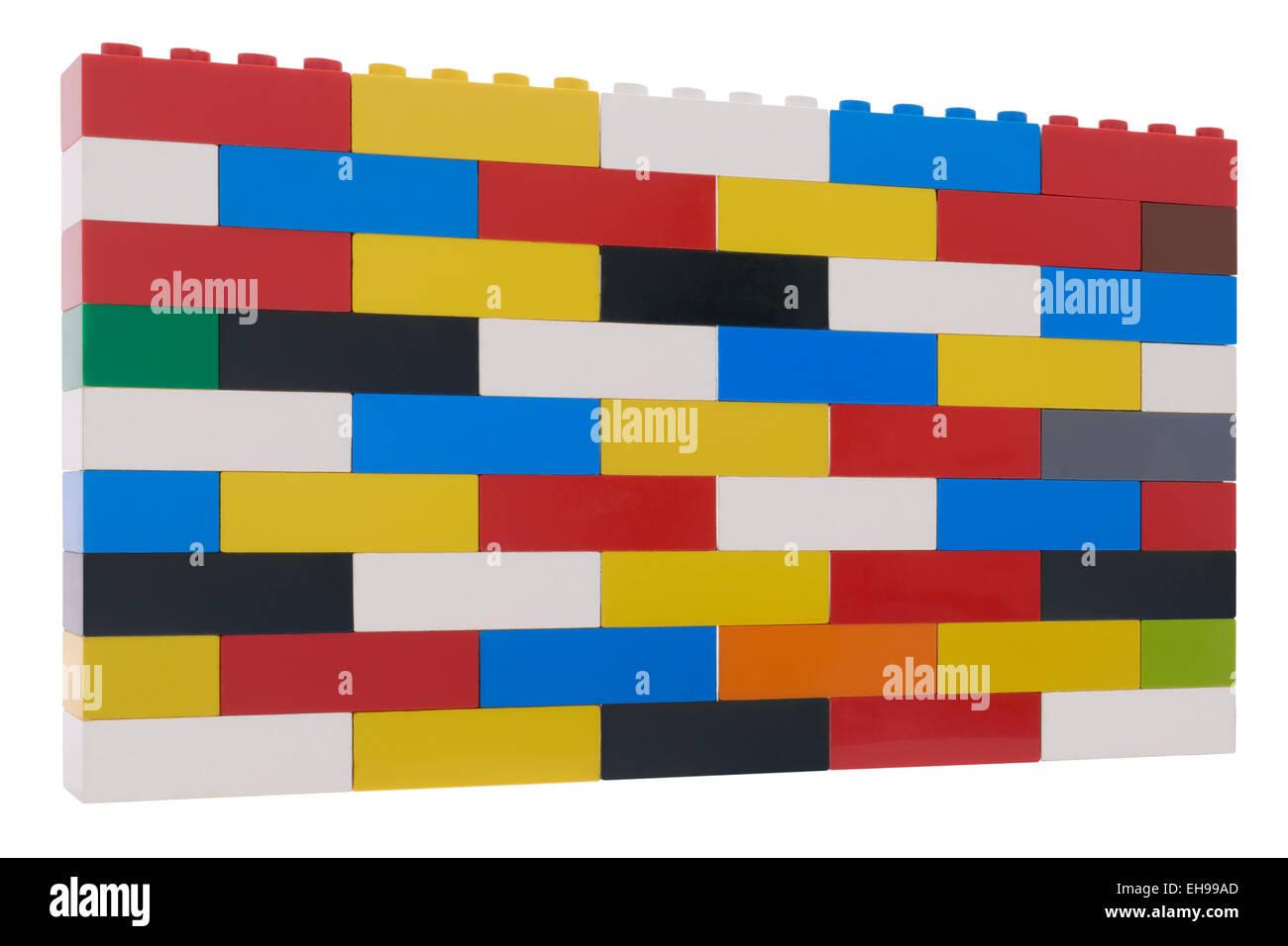 lego brick wall on white background stock photo royalty