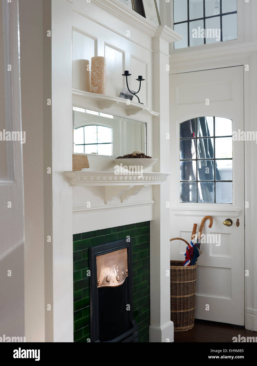 Interior Of Modern Apartment Living Room Hall Kitchen White Entrance With Green Fireplace Edwardian Residential House Kingsmead UK