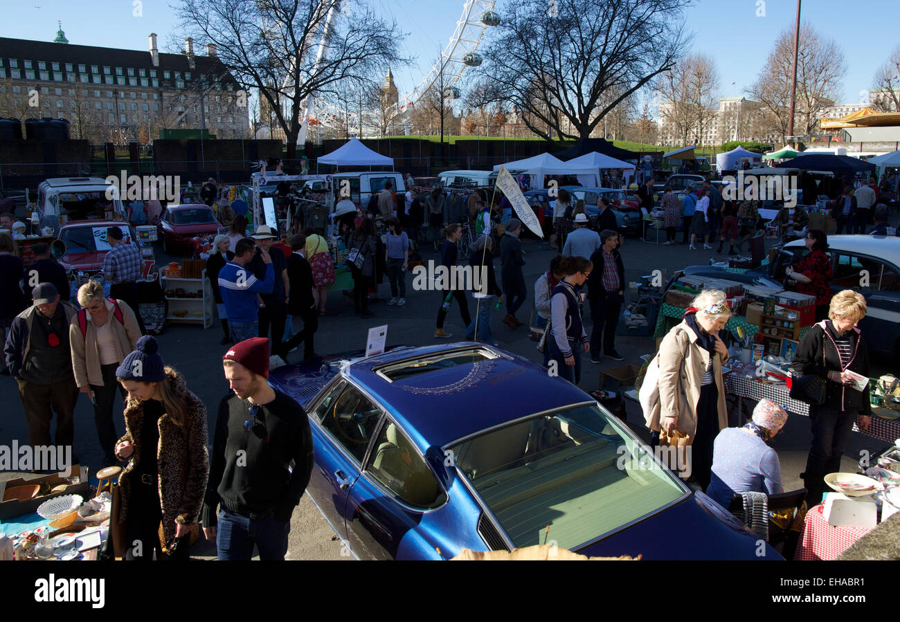 Stock photo united kingdom london antique magazines displayed on a car bonnet are photographed at a classic car boot sale in the southbank in london on