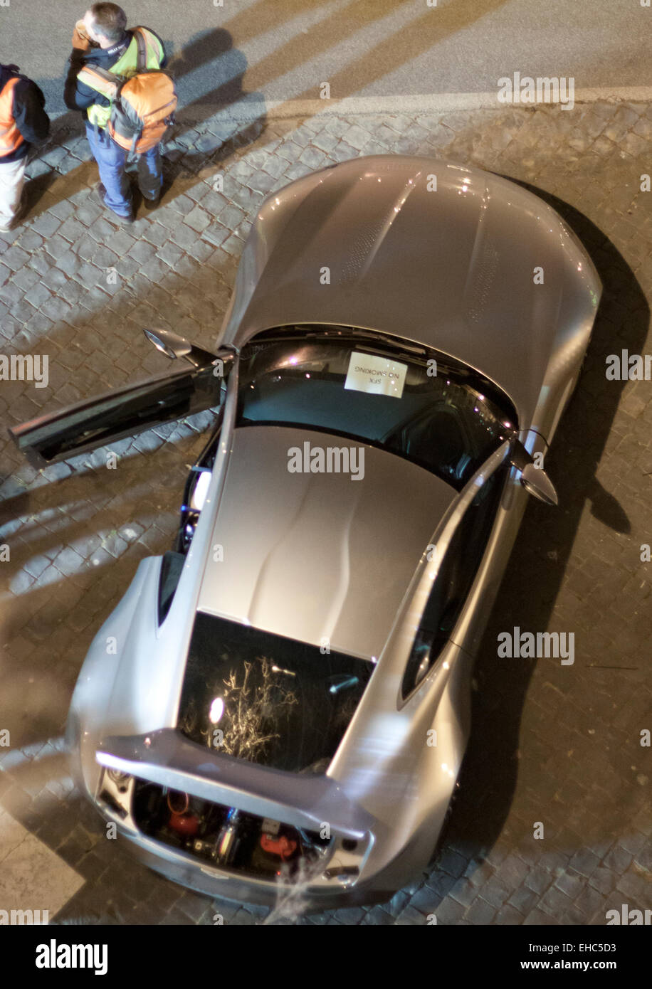 rome, italy. 10th march, 2015. filming car chase scene for new