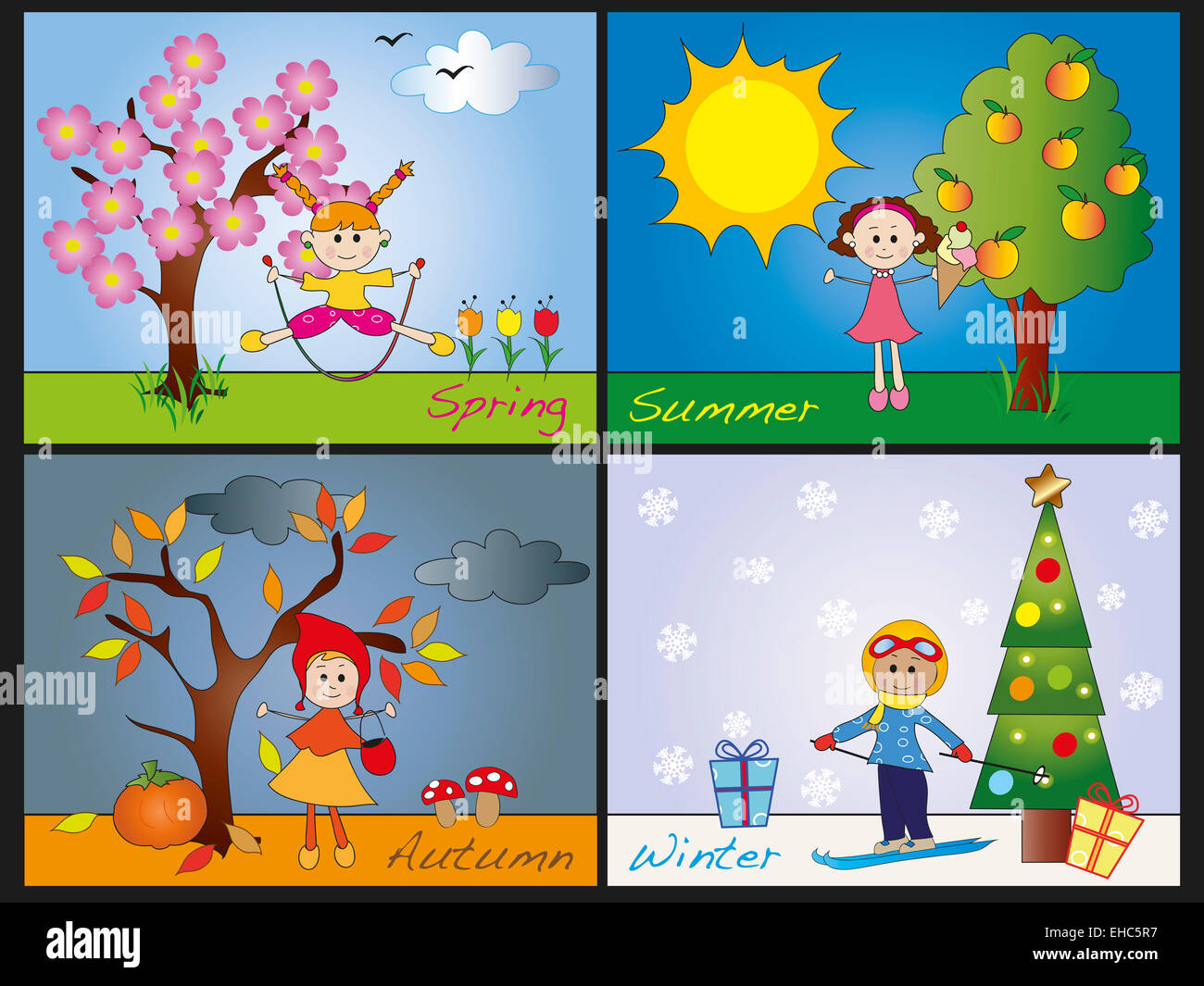 Illustration Of Four Seasons With Children Ehc R on four seasons activities for kindergarten