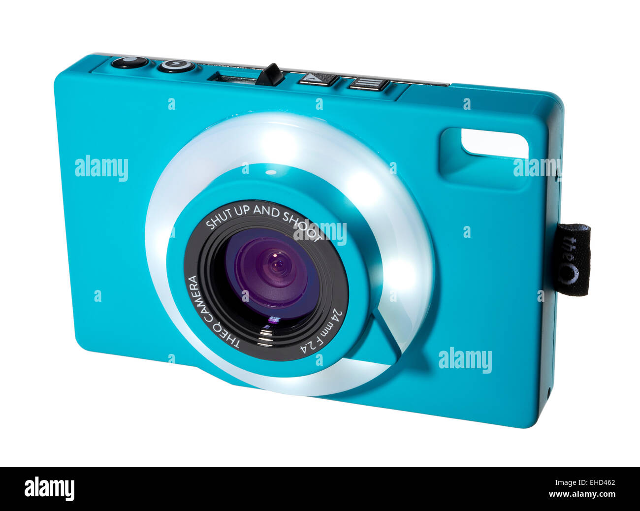 The Q camera in a turquoise blue colour