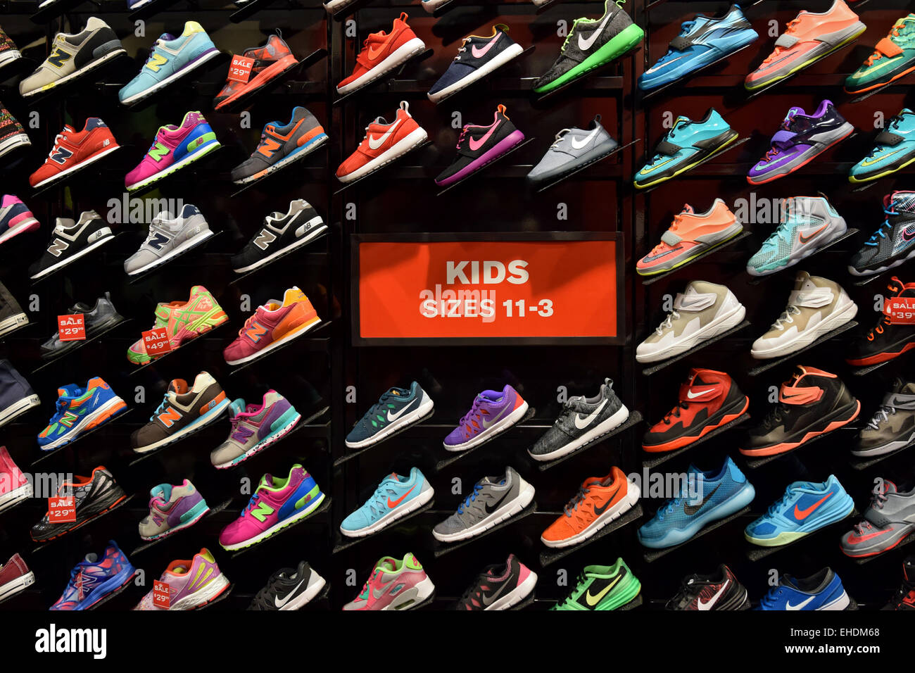 colorful display of children s athletic shoes at foot