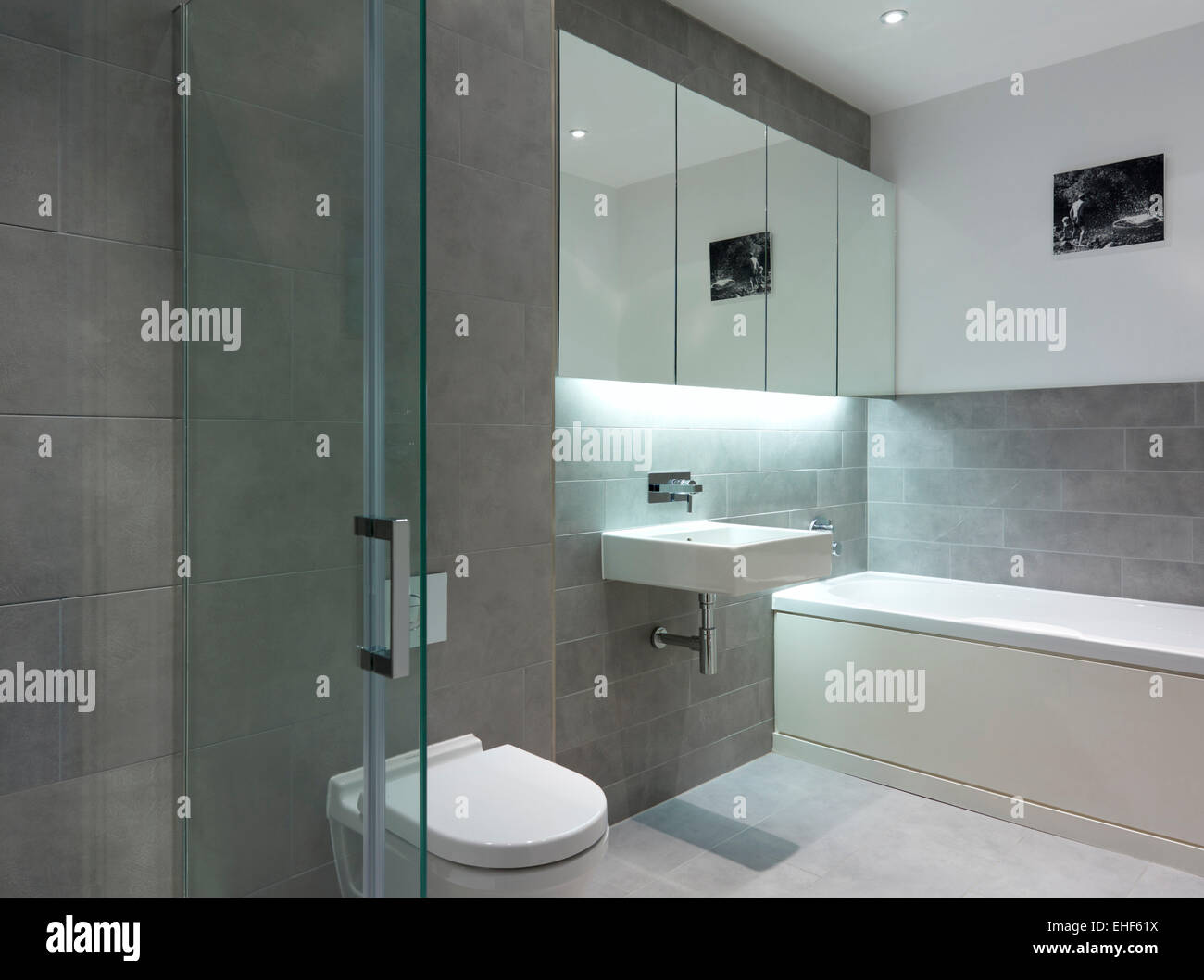 View Through Open Glass Doors To Modern Bathroom With Basin, Toilet And  Bath In The Gap House, UK