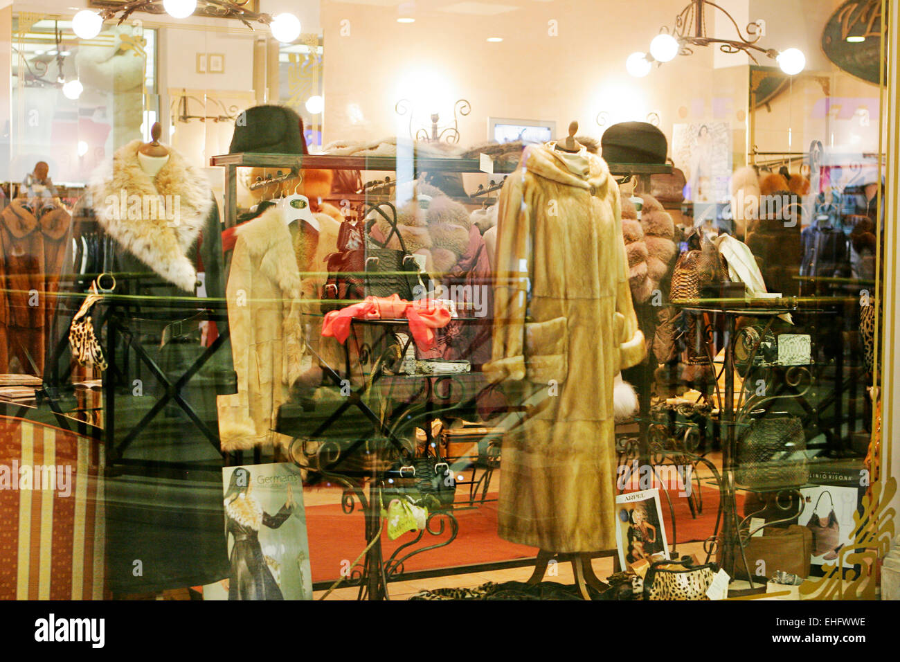 Fur coats for sale in shop windows in Plovdiv Bulgaria Stock Photo ...