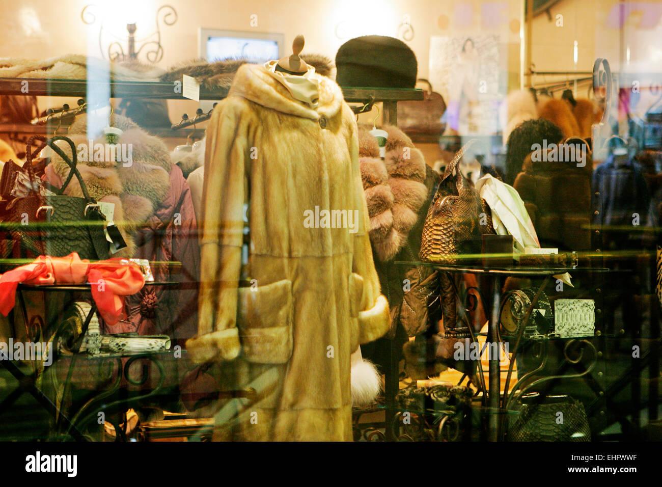 Fur coats for sale in shop windows in Plovdiv Bulgaria Stock Photo ...