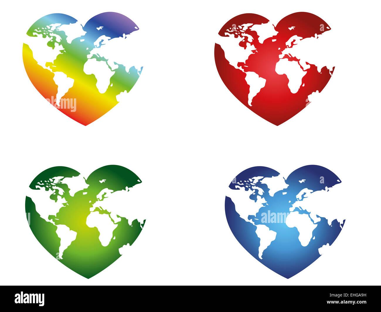Illustration Of Different World Map Heartshaped Stock Photo - World map shape