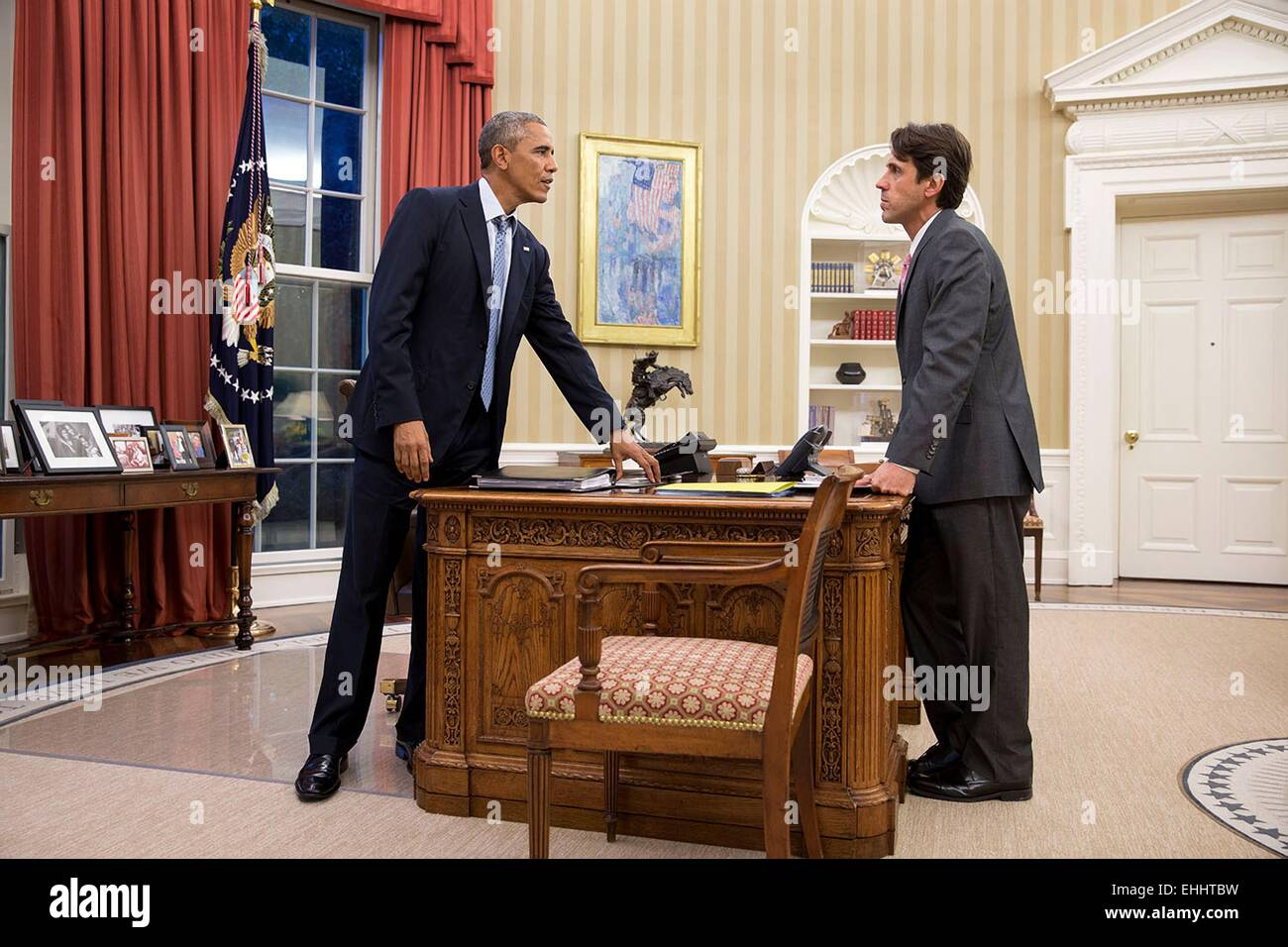 Us president barack obama talks with david simas director - When is obama going to be out of office ...