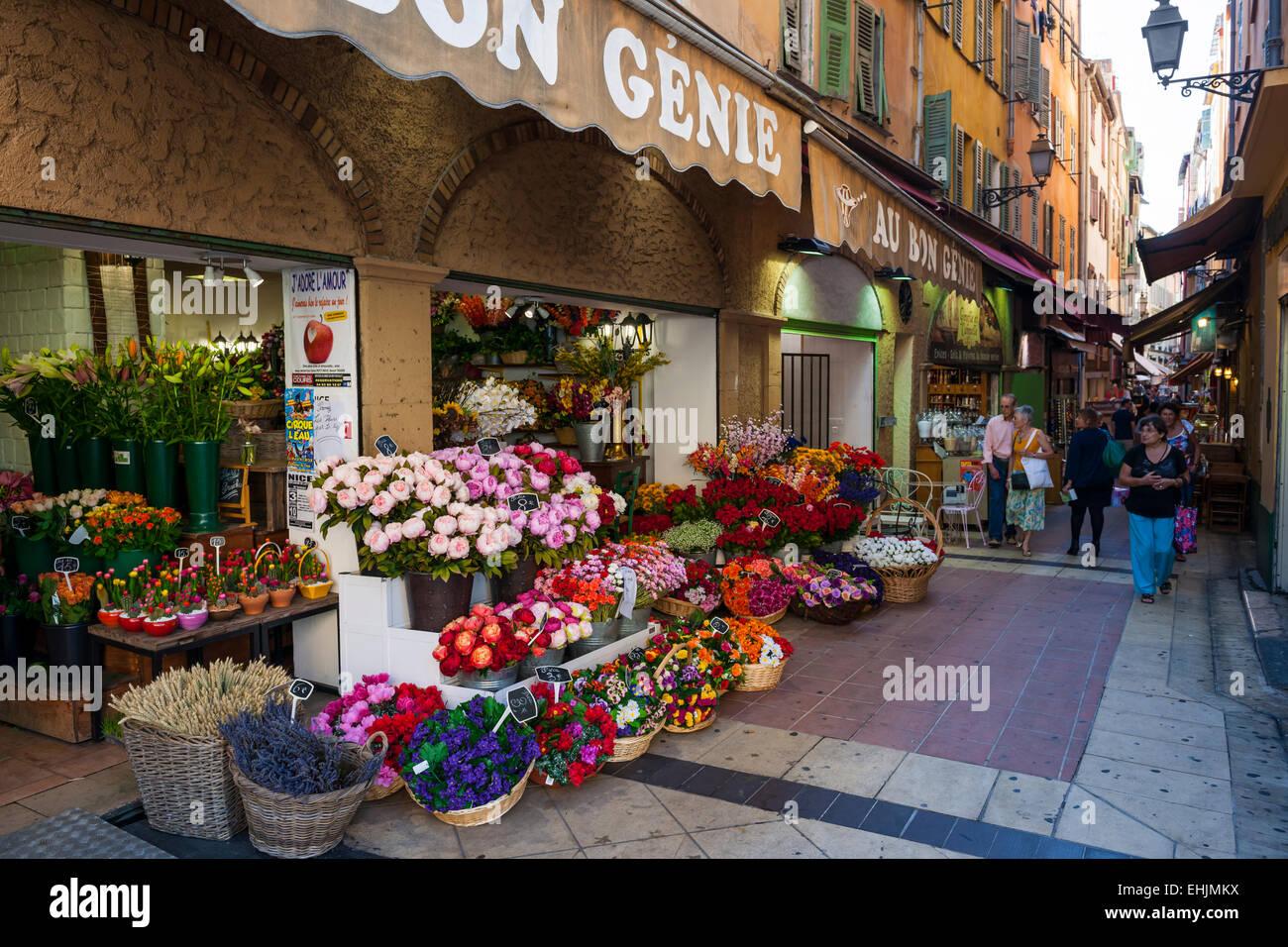nice france october 2 2014 au bon genie flower shop. Black Bedroom Furniture Sets. Home Design Ideas