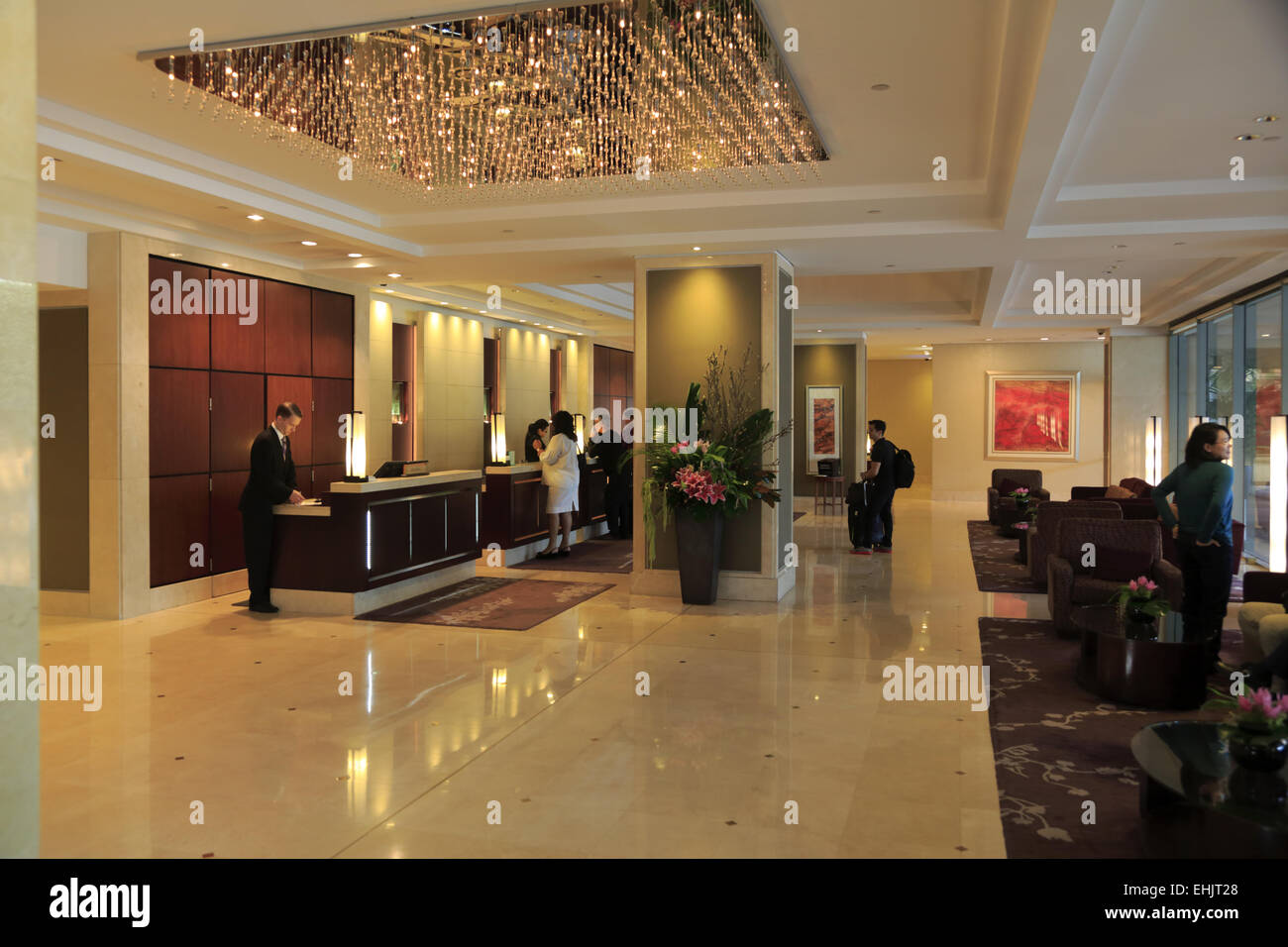 stock photo lobby reception area of shangri la hotel sydney sydney