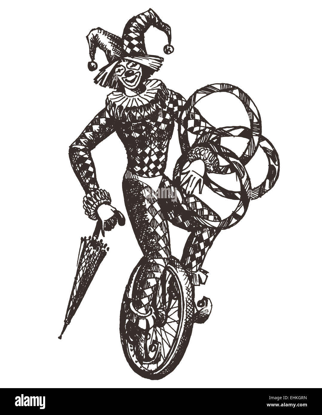 Bike stickers design joker - Clown Circus Joker On A White Background Illustration Sketch Stock Image