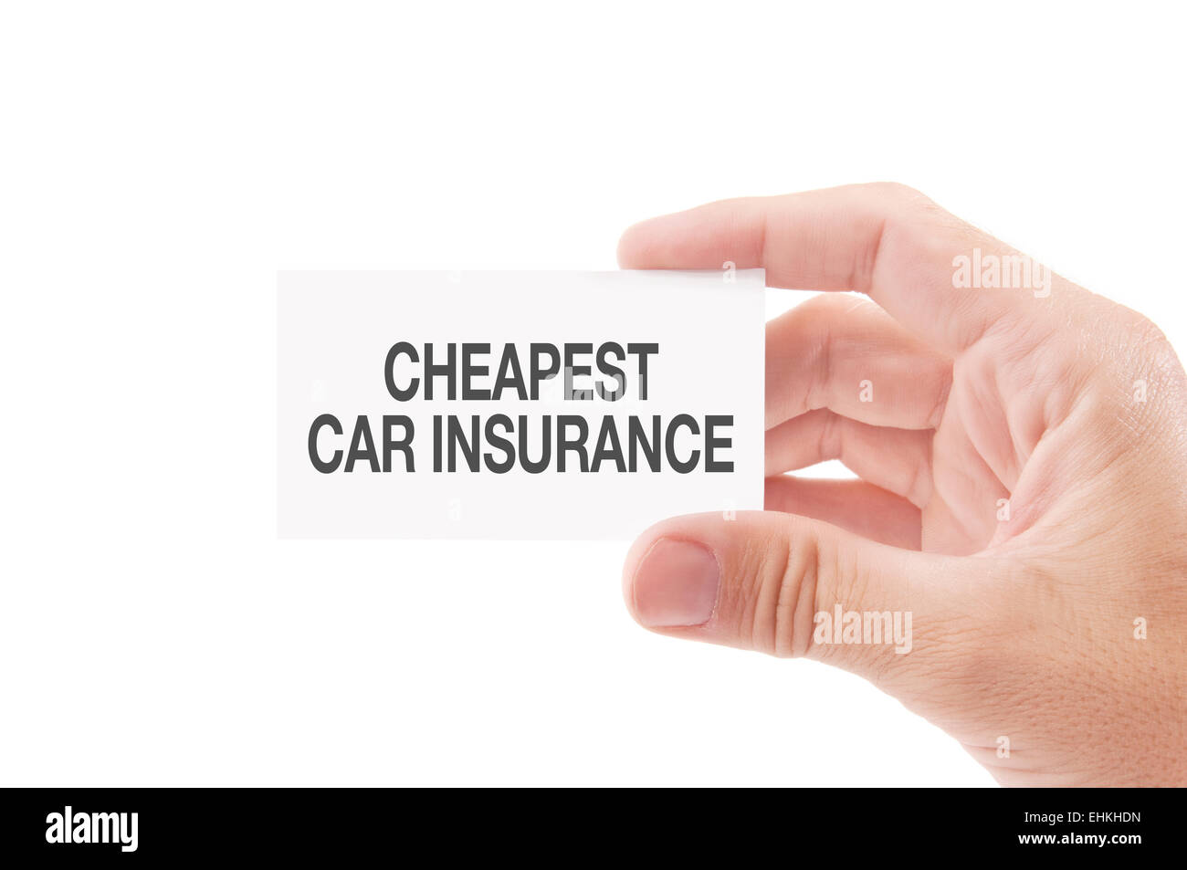 Vehicle Insurance Agent Holding Business Card with Cheapest Car ...