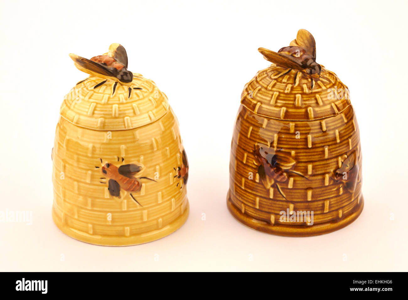 Pair Of Vintage Ceramic Honey Pots In Shape Skep With Bees