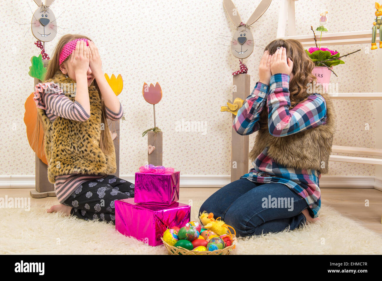 Easter two sisters girlfriend surprised easter gift stock photo easter two sisters girlfriend surprised easter gift negle Images