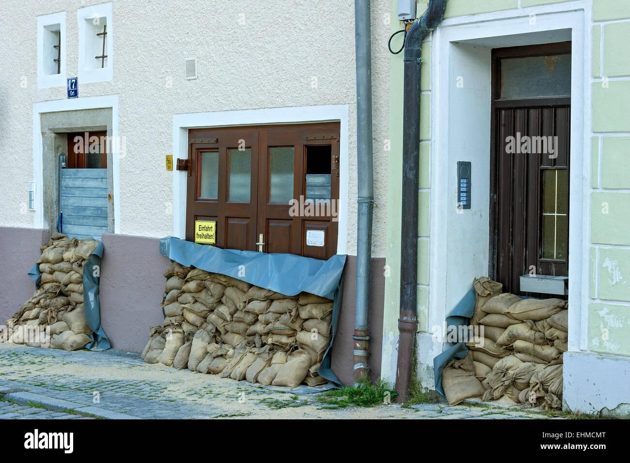 Flood Control Measures Sandbags And A Protective Wall Of