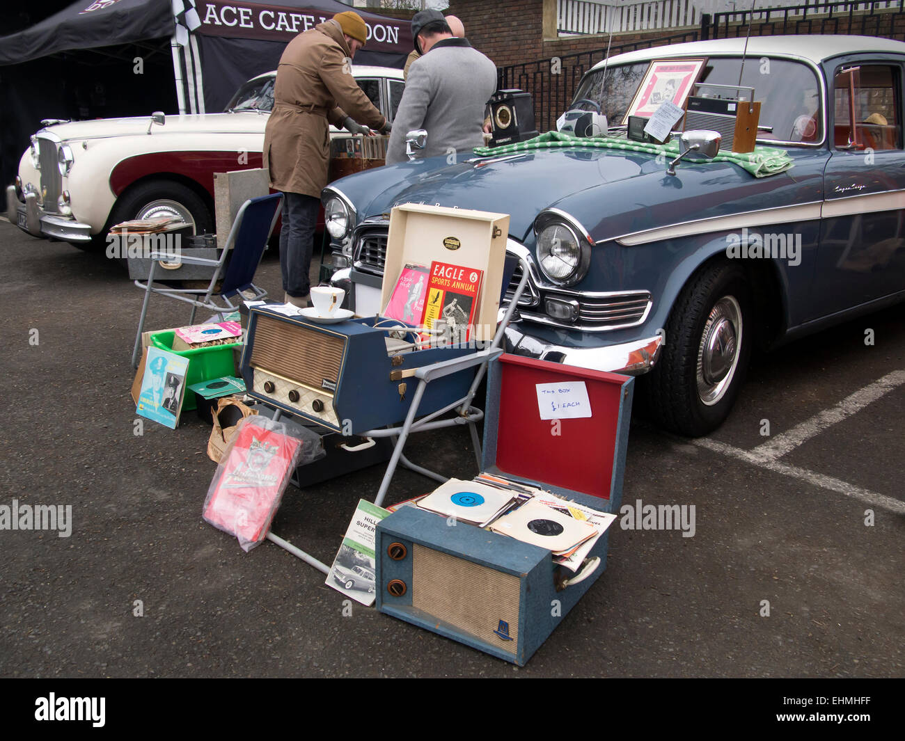 London, UK. 15th Mar, 2015. Stall at the Classic car boot sale ...