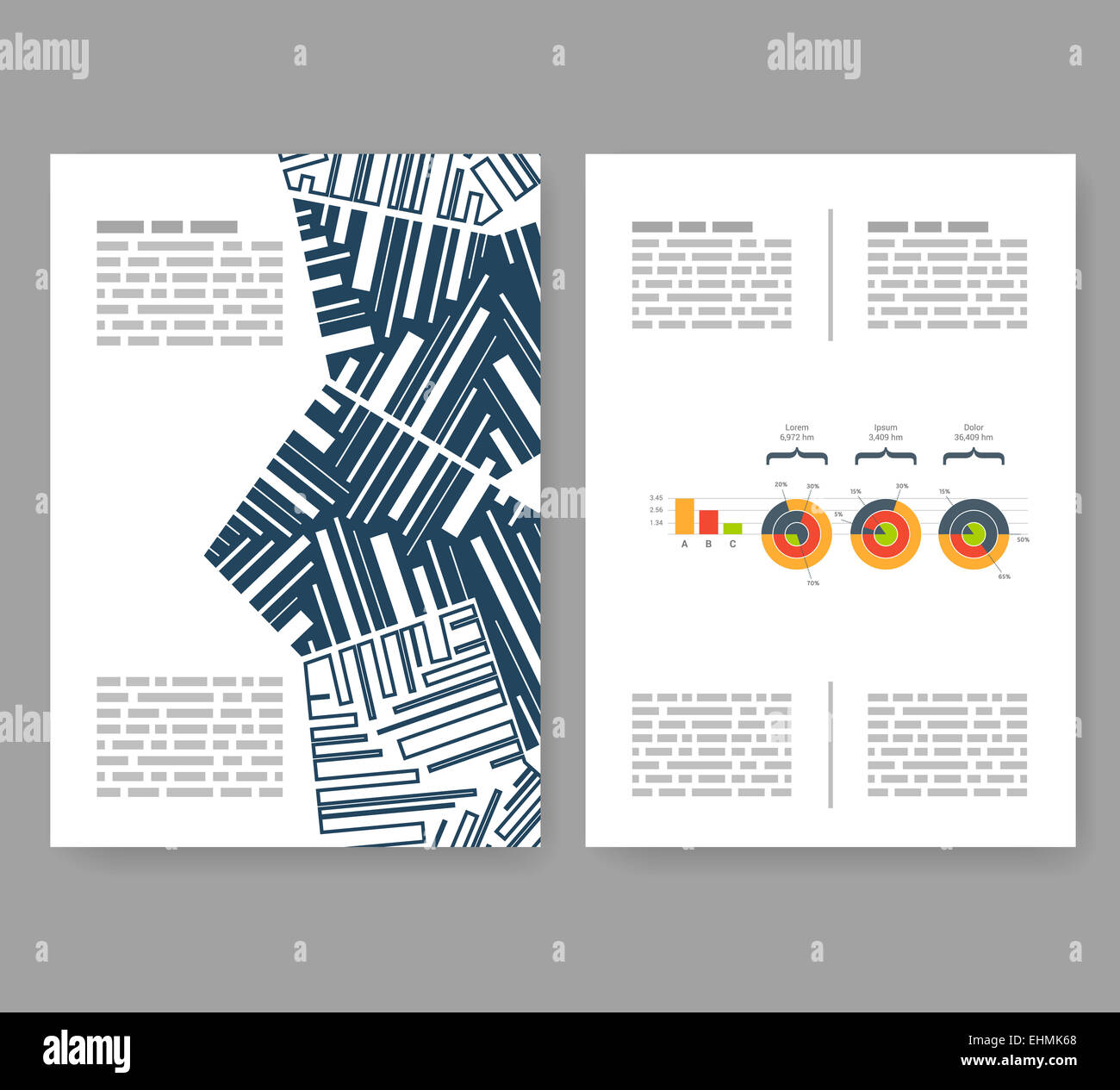 Flyer, Leaflet, Booklet Layout. Editable Design Template. A4 2 Fold  Brochure With Abstract Elements, Infographics  Booklet Template