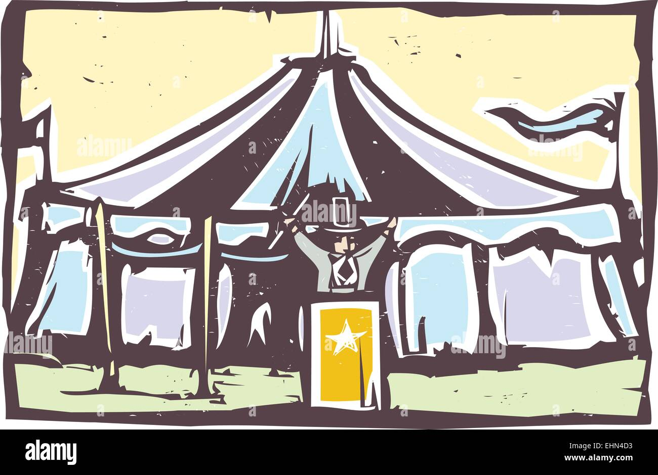 Woodcut expressionist style image of a carnival circus tent & Woodcut expressionist style image of a carnival circus tent Stock ...