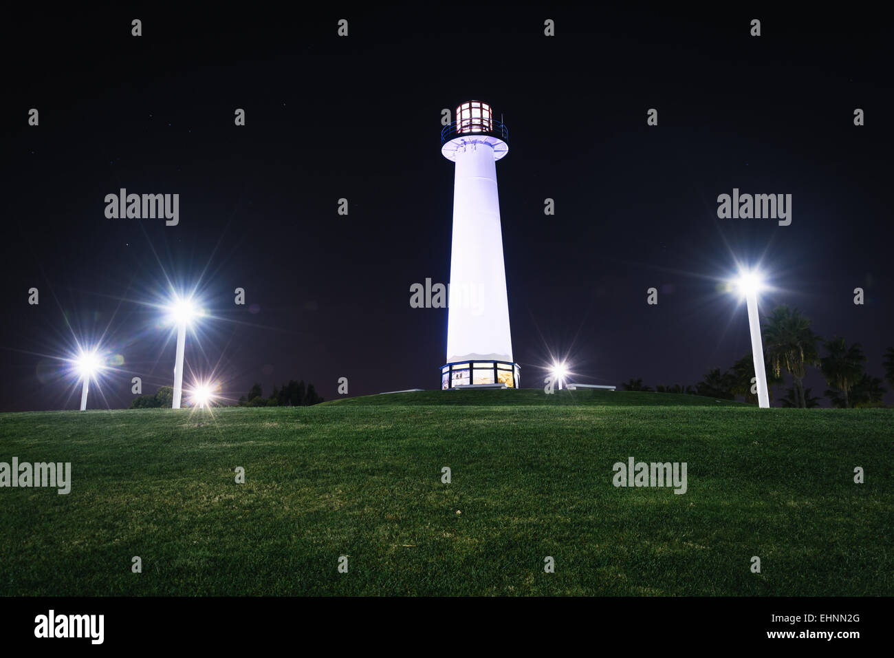 Long Beach Harbor Lighthouse At Night In California