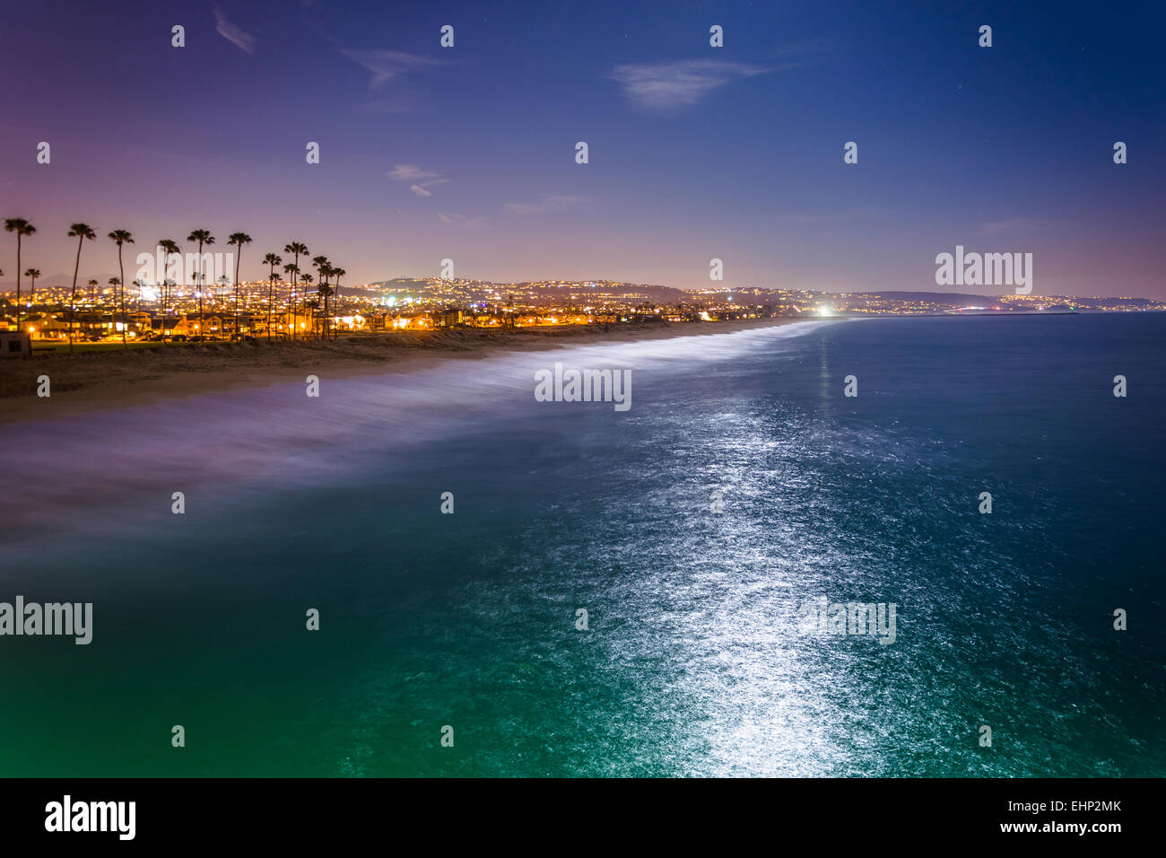 View Of The Beach And Pacific Ocean At Night From Balboa Pier In Newport California