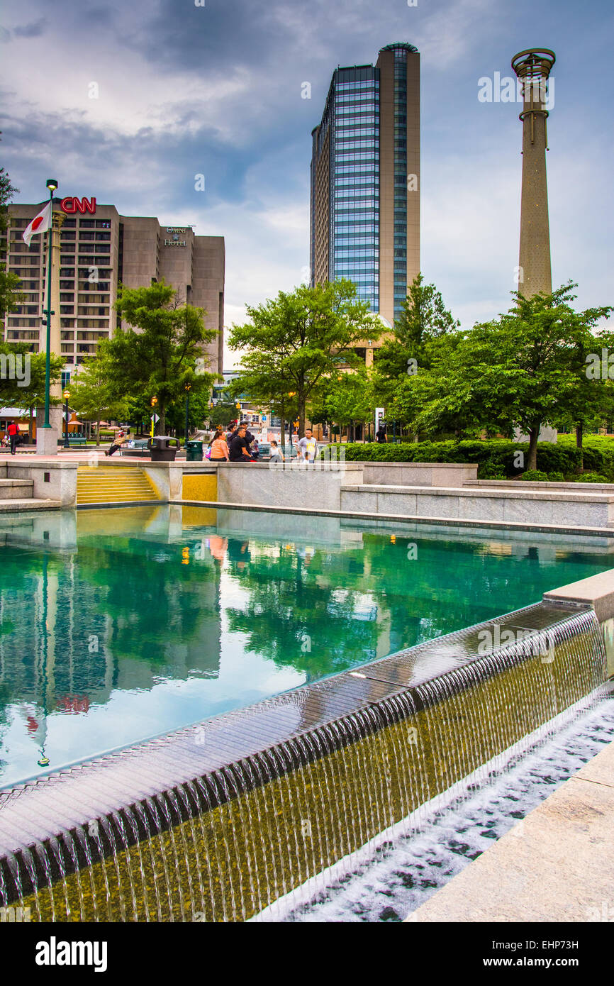 Buildings And Reflecting Pool At Centennial Olympic Park In Downtown Stock Photo Royalty Free