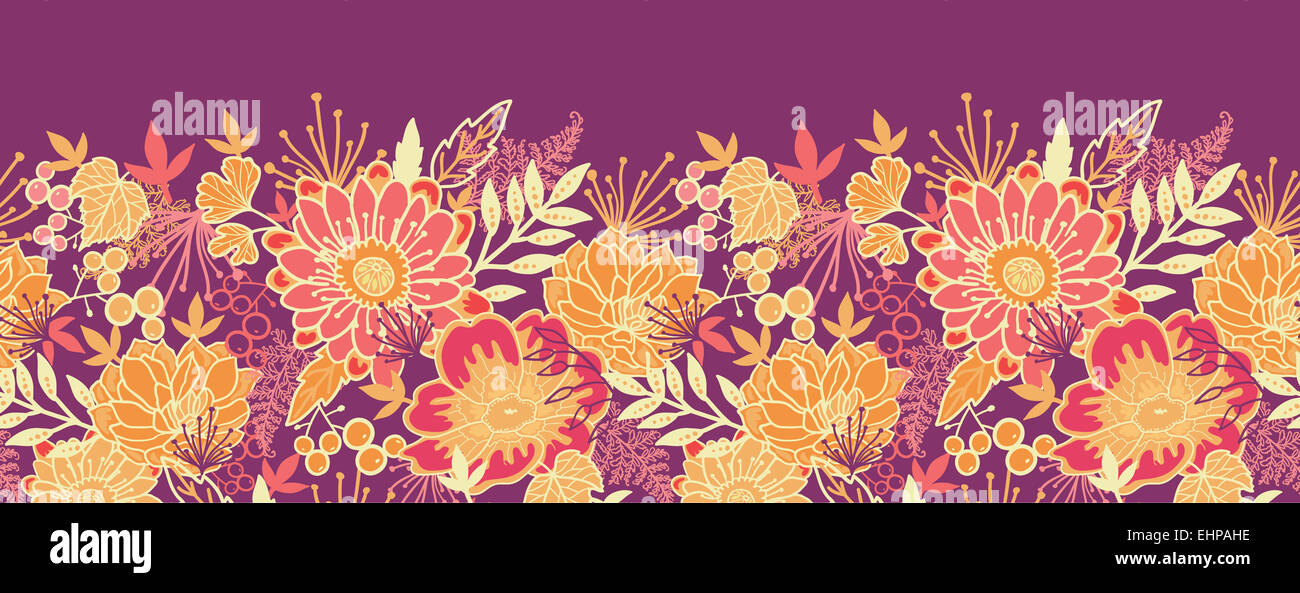 Fall Flowers And Leaves Horizontal Seamless Pattern Border