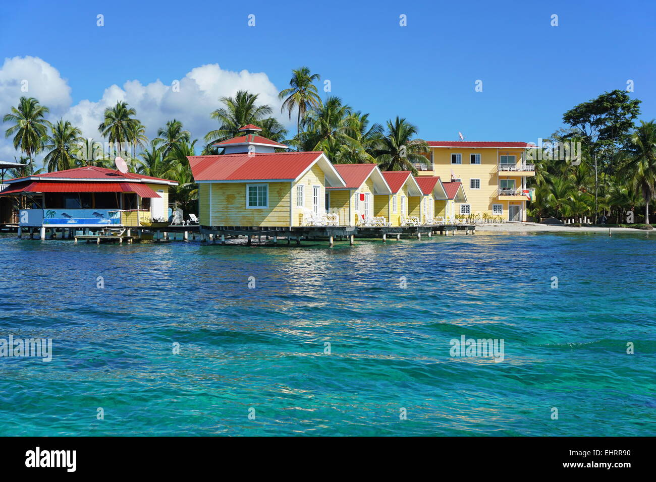 Tropical Resort With Cabin Over Water Of The Caribbean Sea, Carenero  Island, Bocas Del Toro, Panama, Central America