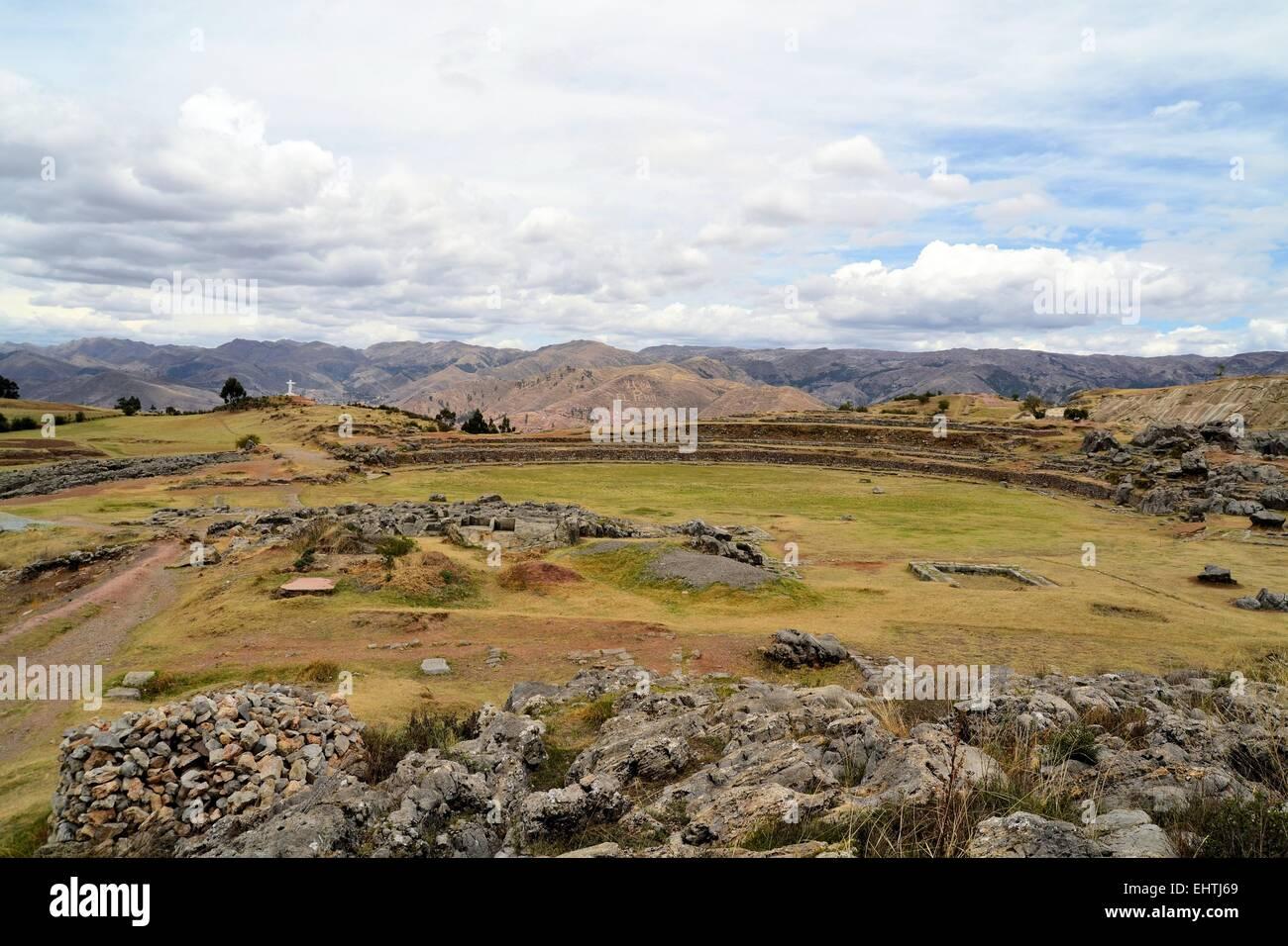 Mountain living near cusco peru royalty free stock photo - Stock Photo Stone Circle In Inca Fortress Saksaywaman Cusco Peru