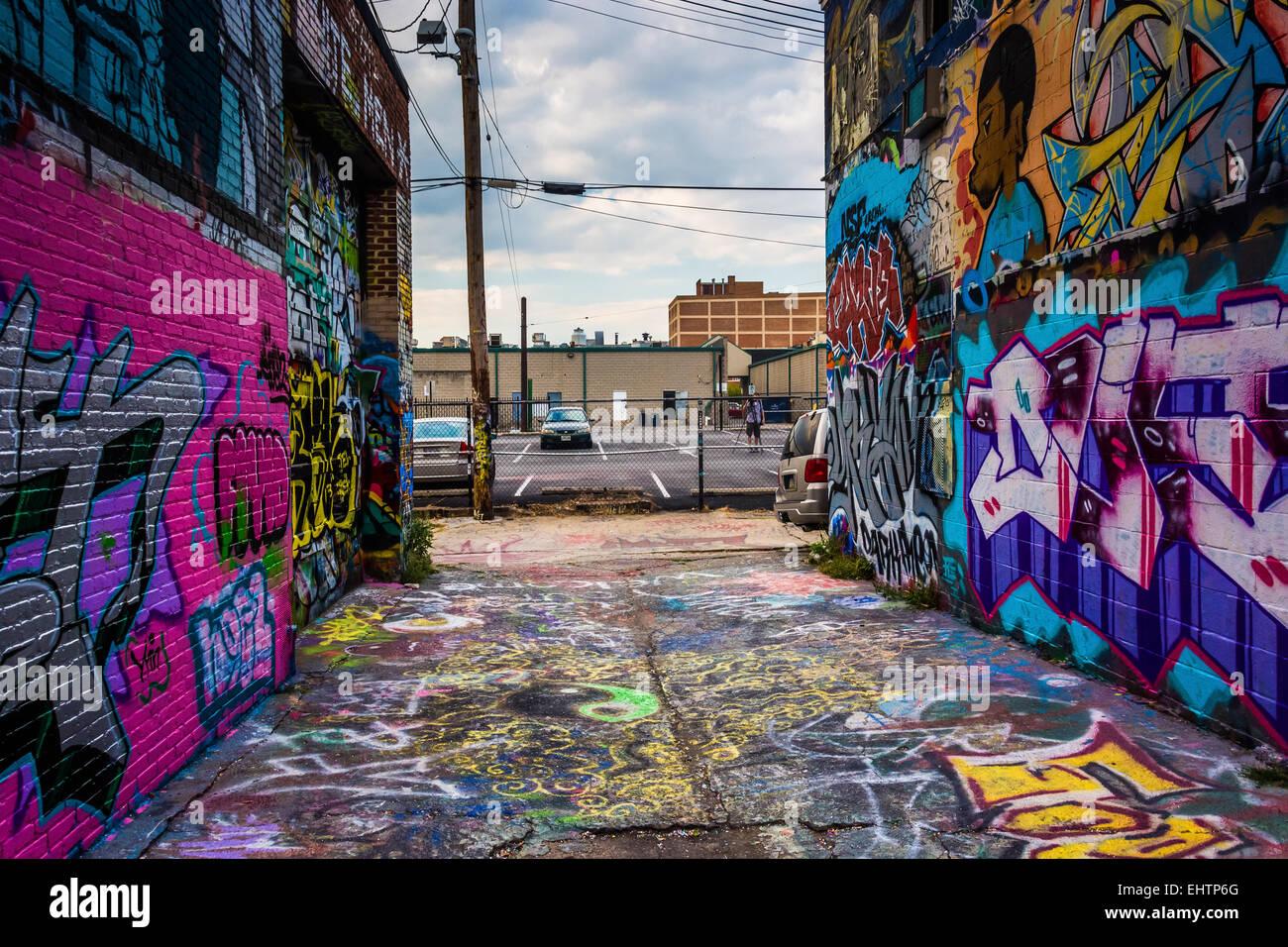 Graffiti wall baltimore - Incredible Artwork In Graffiti Alley Baltimore Maryland Stock Image