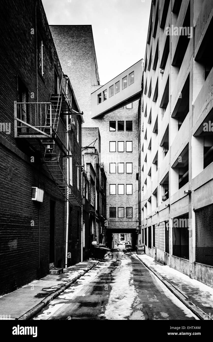 Narrow Alley And Parking Garage In Baltimore, Maryland