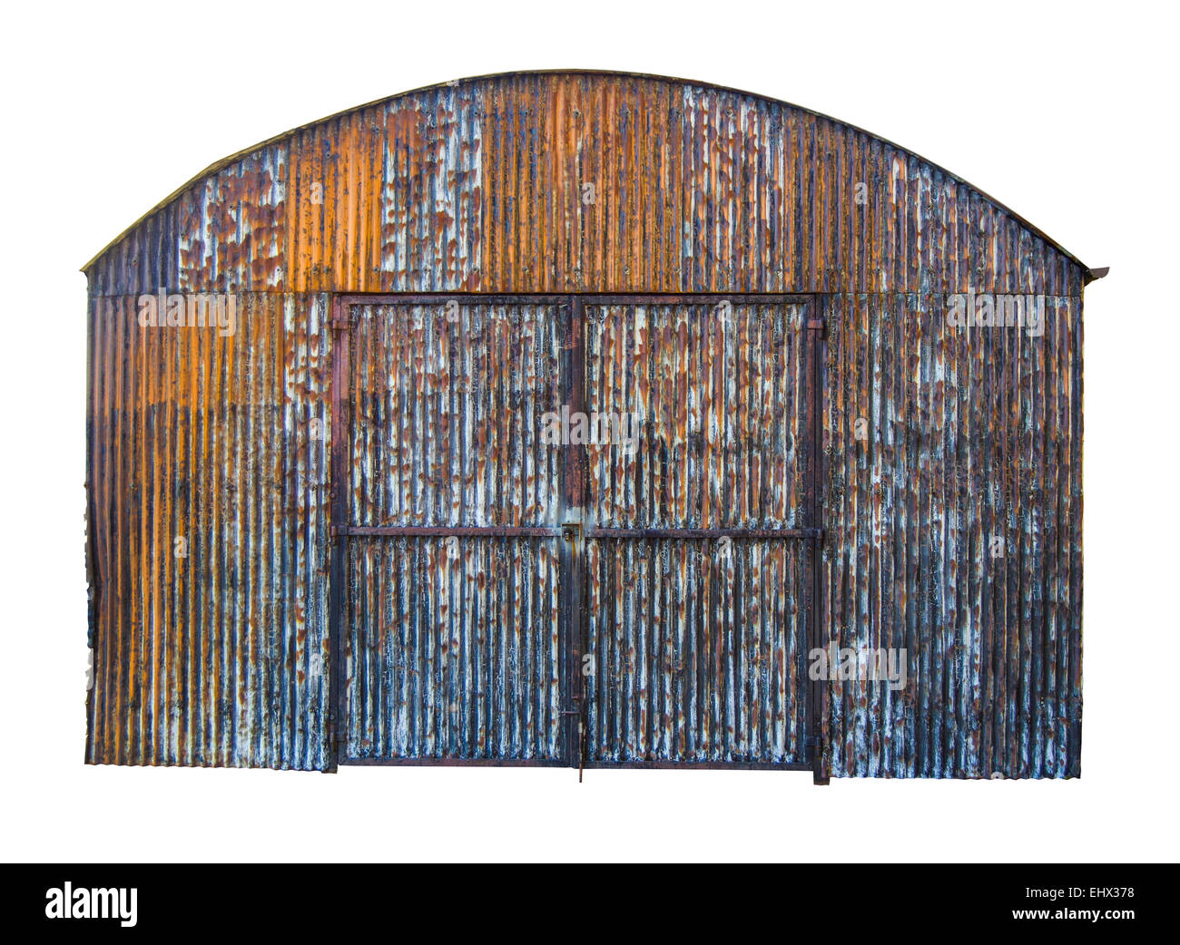 Isolated Rusty Old Corrugated Iron Barn With Clipping Path