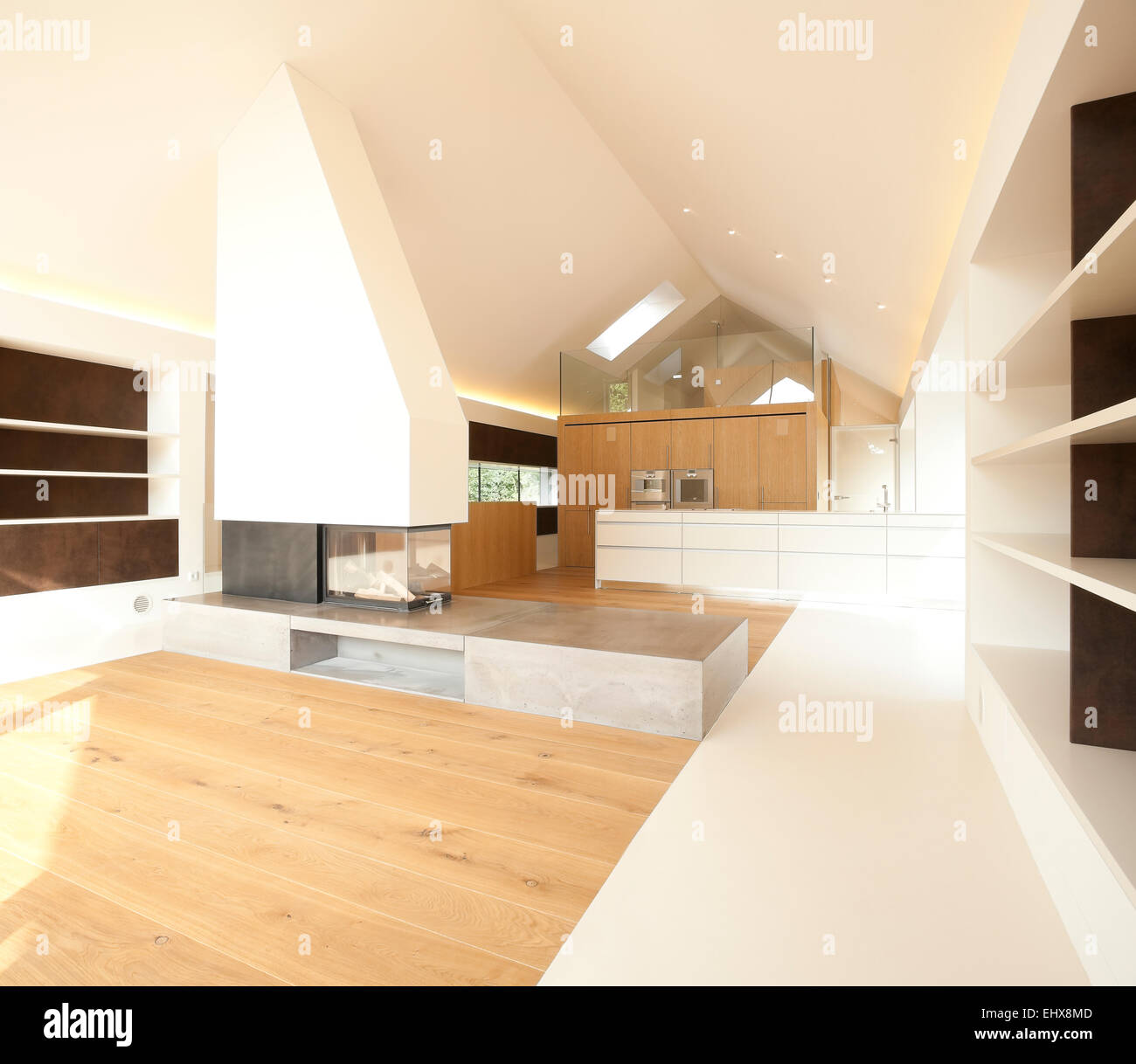 Open Plan Kitchen Living Room: Home Ownership, Living Room With Fireplace And Open Plan Kitchen Stock Photo, Royalty Free Image