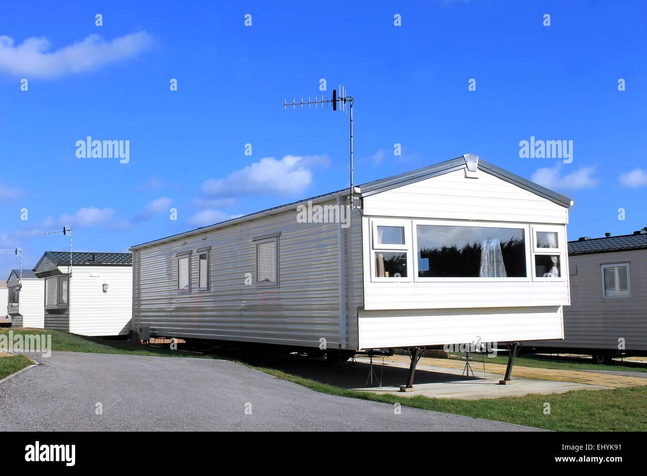 Exterior Of A Modern Caravan On Trailer Park In Summer England