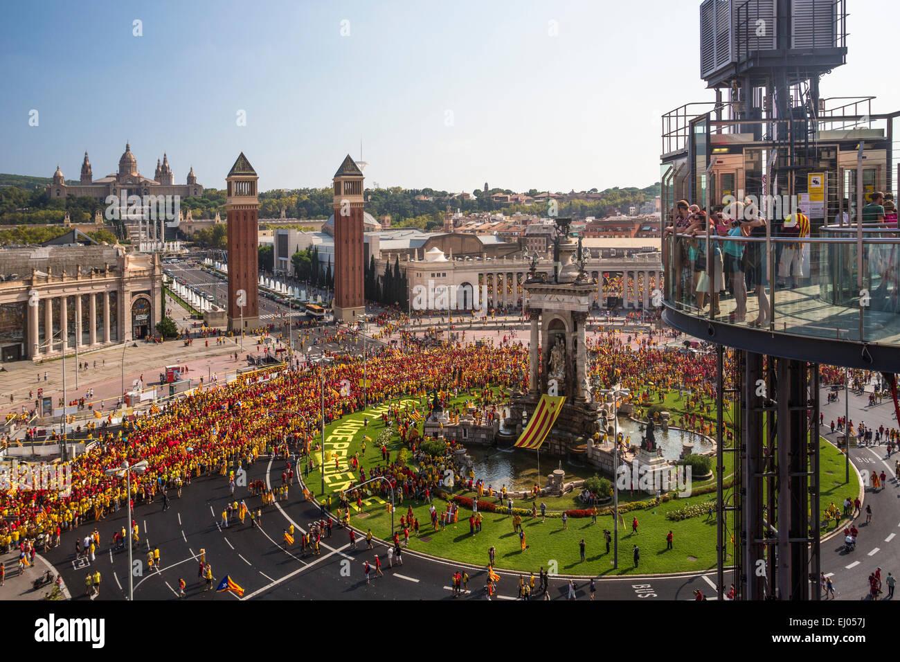 Barcelona, City, Espana, Square, Human, Montjuich, Hill