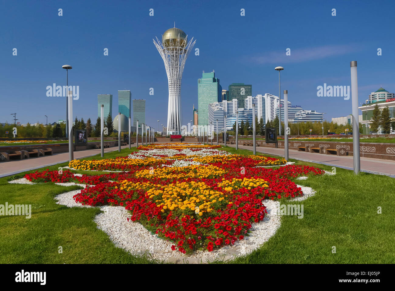 Astana Avenue Bayterek Boulevard City Flowers Plants Stock Royal