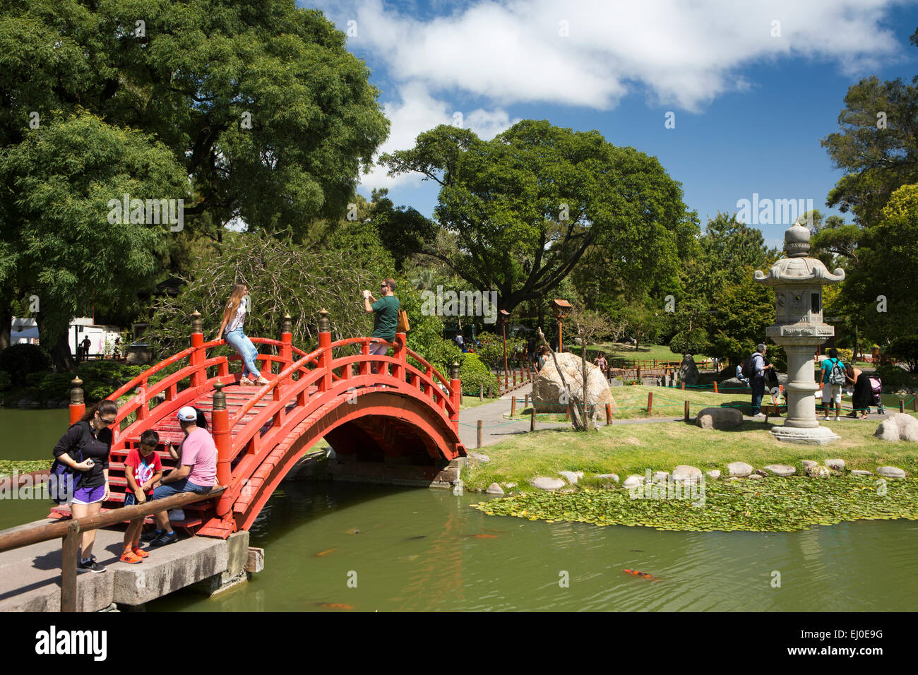 argentina buenos aires retiro japanese garden jardin japones visitors on red arched bridge