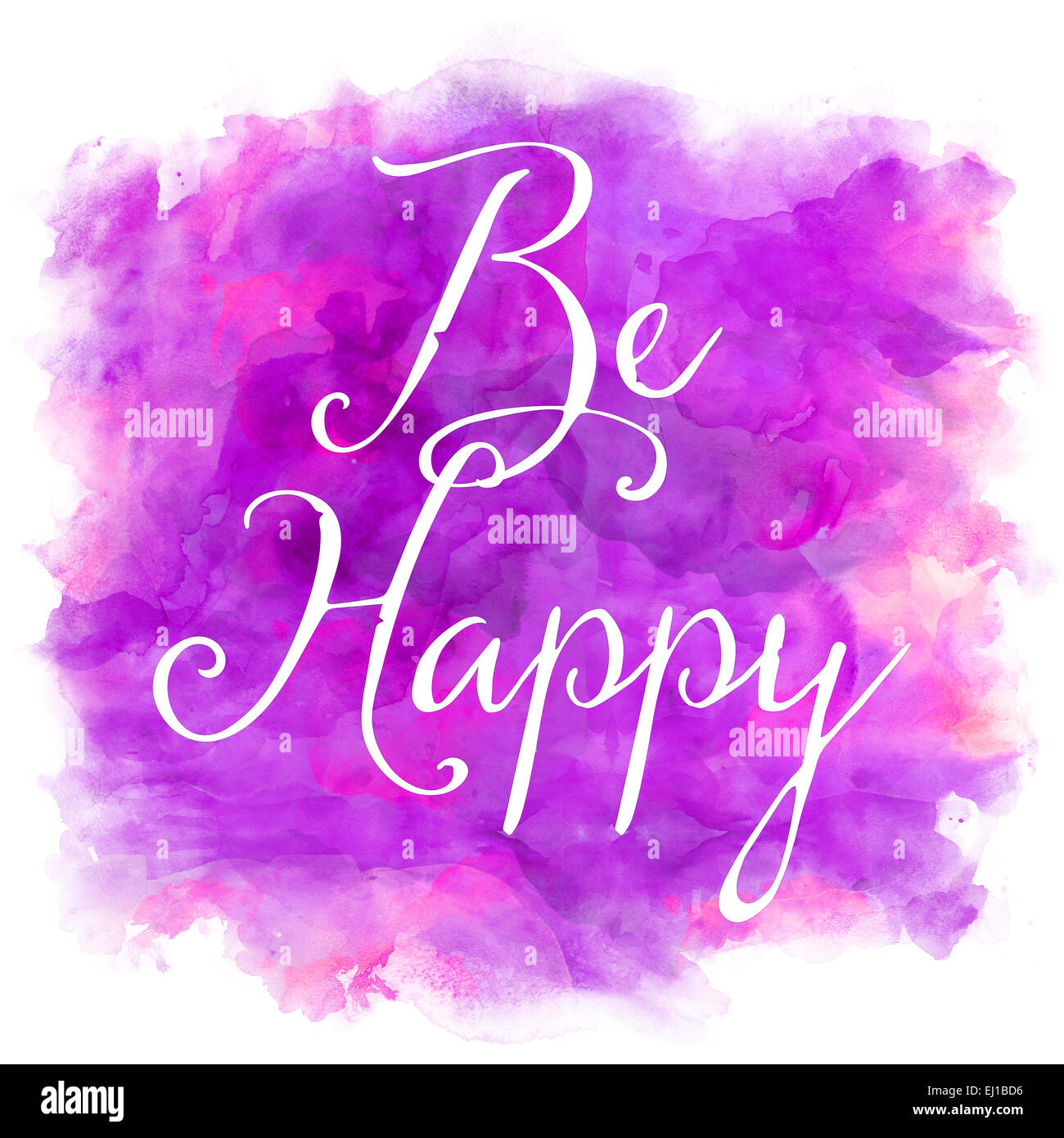 Purple Quotes Be Happy Purple And Pink Watercolor Inspirational Quote Stock