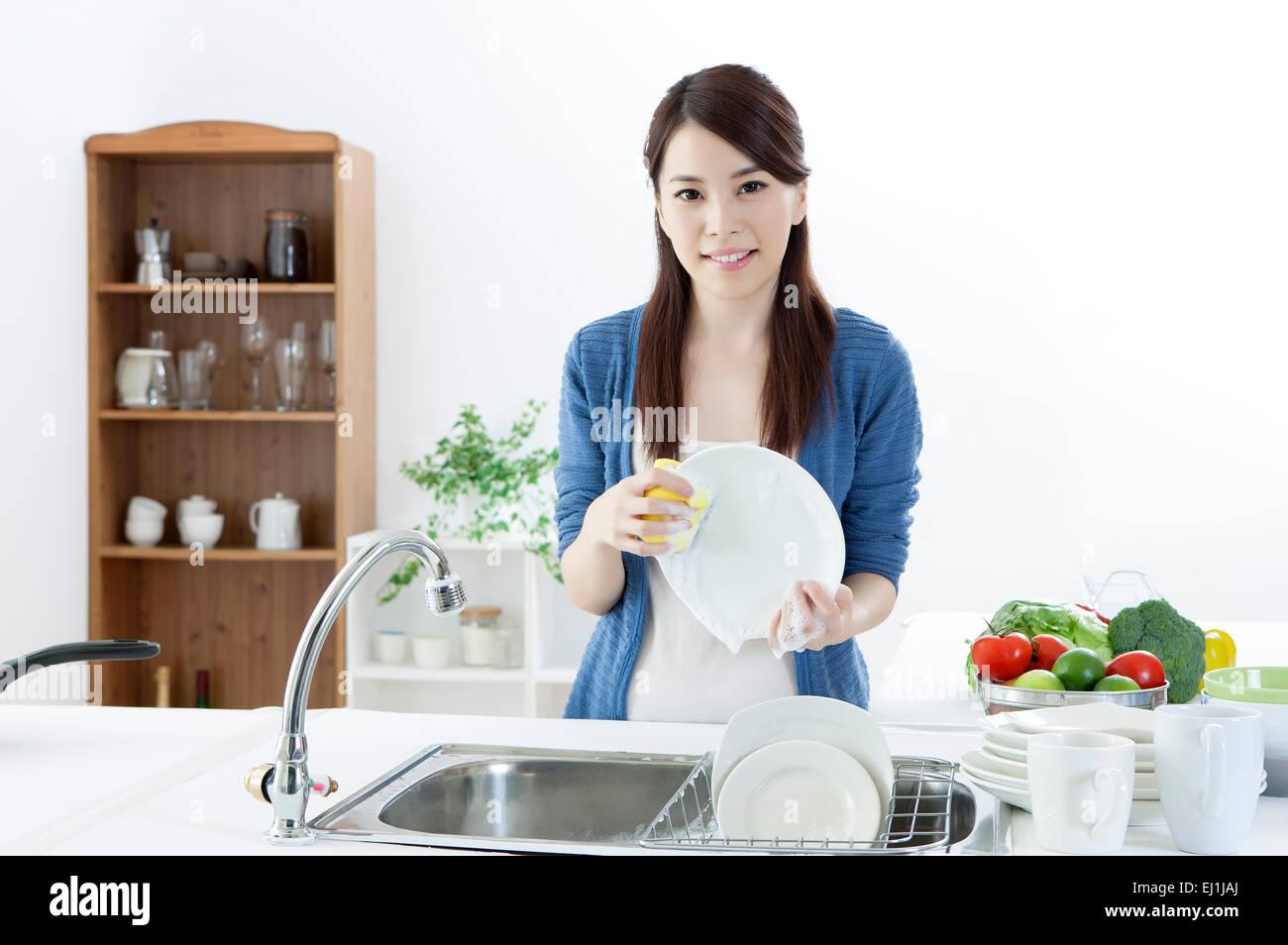 Female orgasm on a kitchen sink