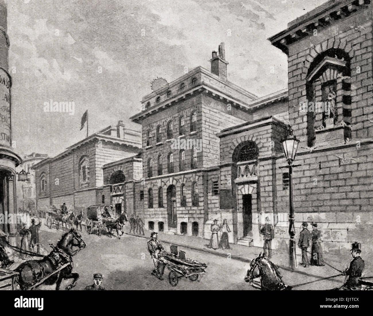 engraving of street scene outside newgate prison in victorian era