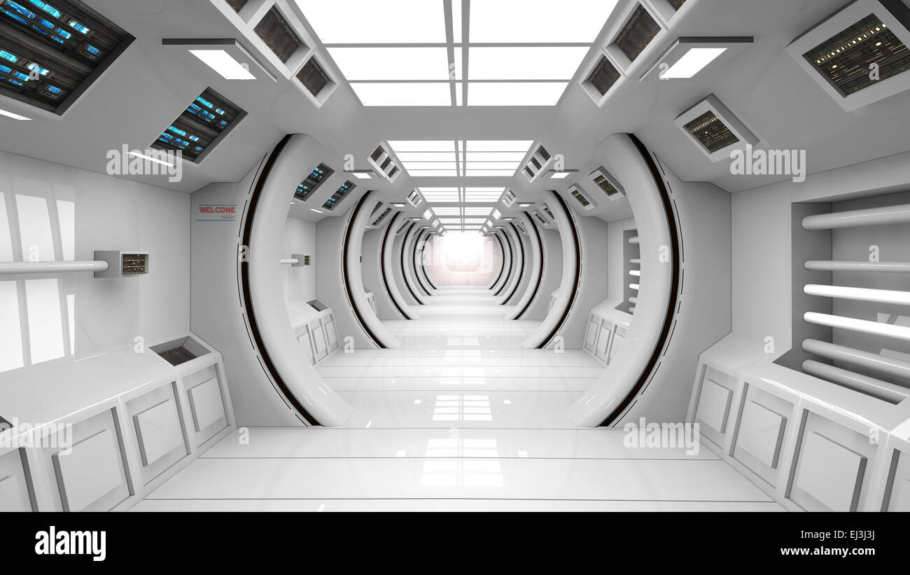 Futuristic Interior Scifi Architecture Stock Photo