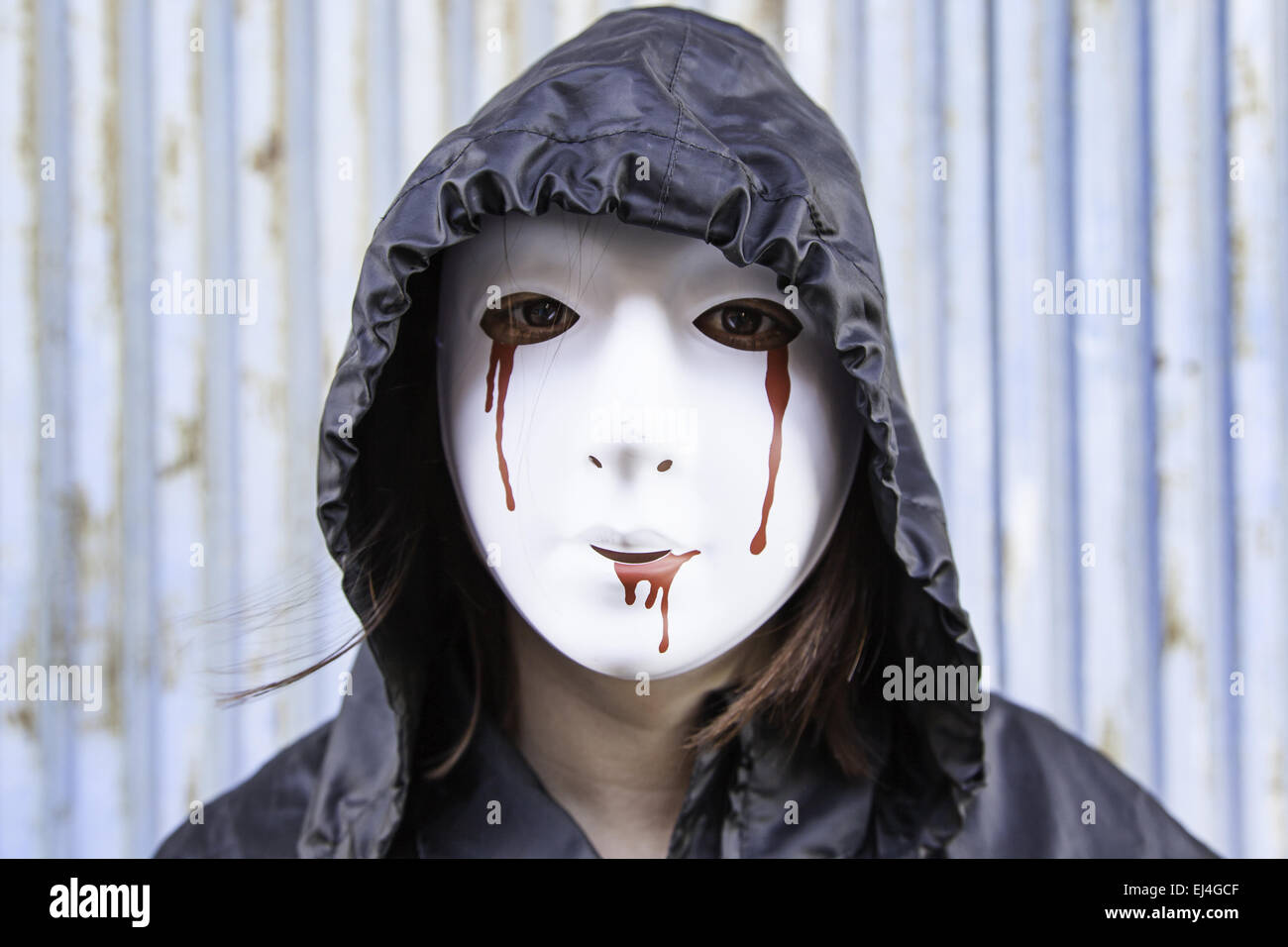 Violent woman with bloody mask, halloween Stock Photo, Royalty ...