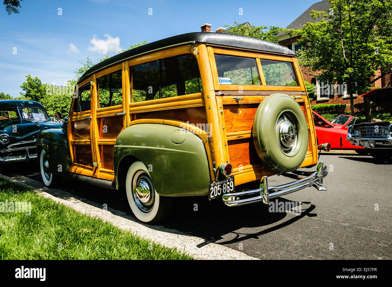 1941 Ford Super Delux Woody Station Wagon, Antique Car Show Stock ...