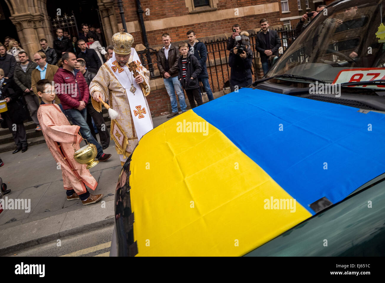 London, UK. 22nd March, 2015. Blessing of cars for Ukrainian ...