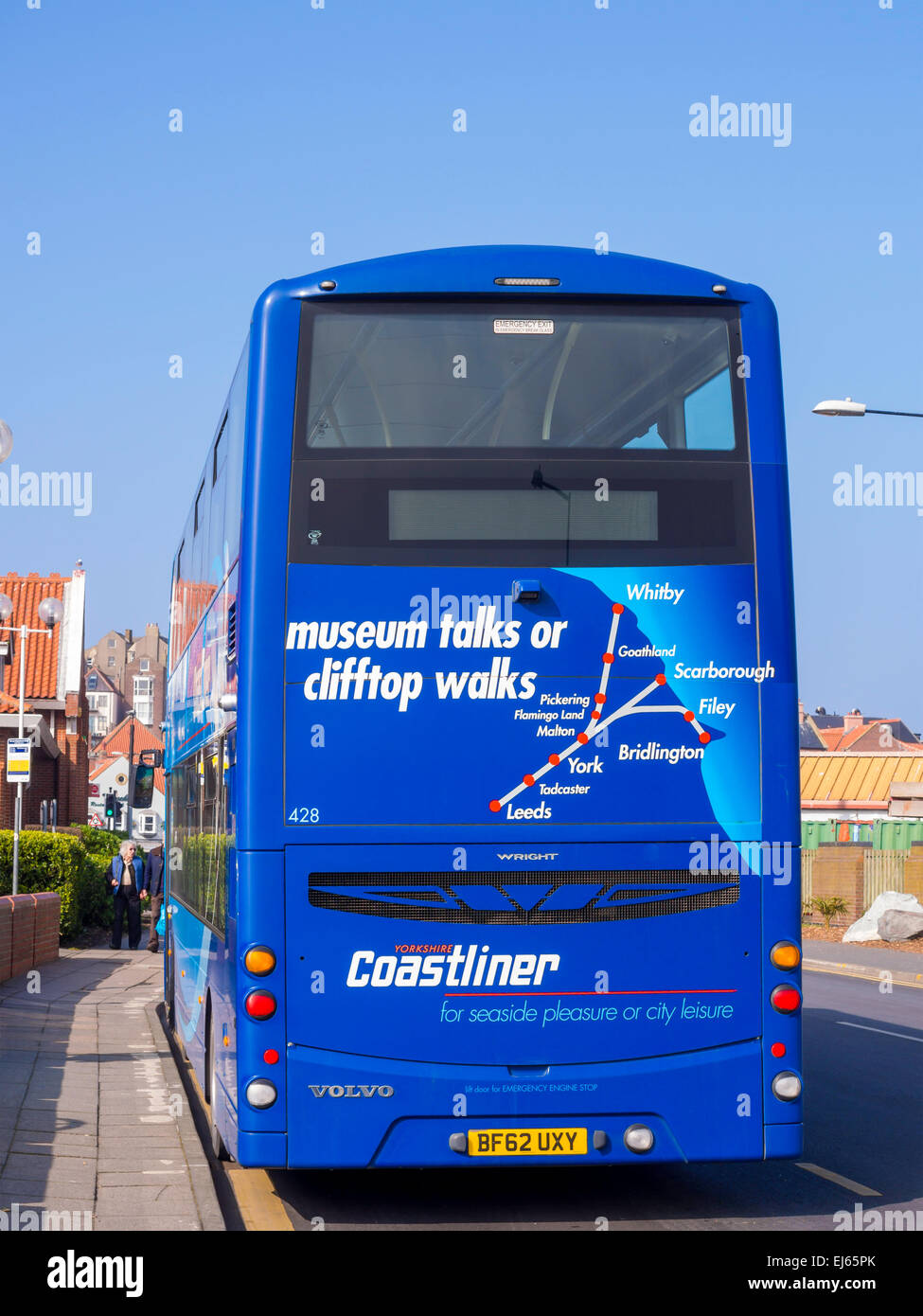 Rear of a Coastliner bus with a map showing the routes from Leeds