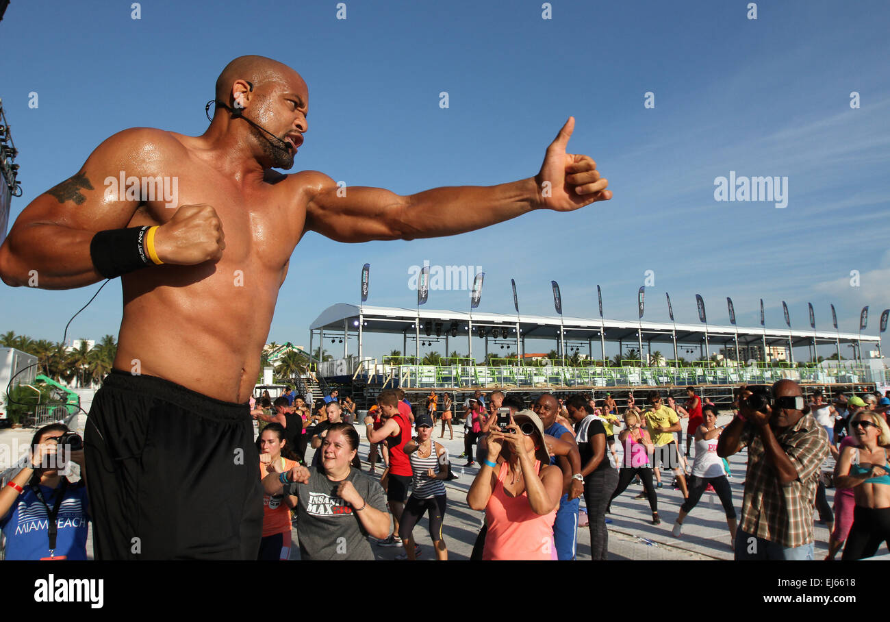 Miami Beach Florida USA 22nd March 2015 Celebrity Fitness Expert Shaun T Hosts A T25 Workout Session Sponsored By Core Power At The Launch Of