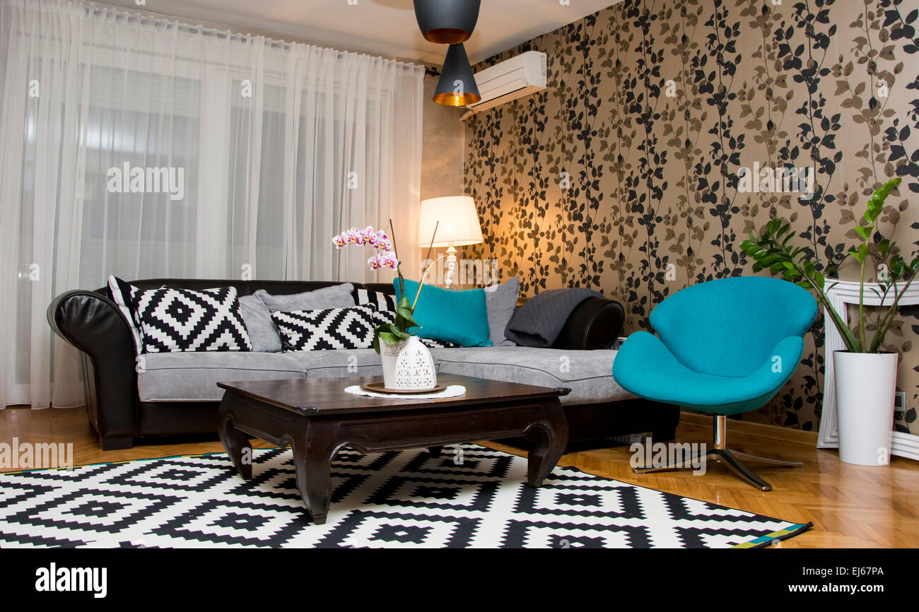 Eccentric design for living room interior with blue black for Black and blue room designs