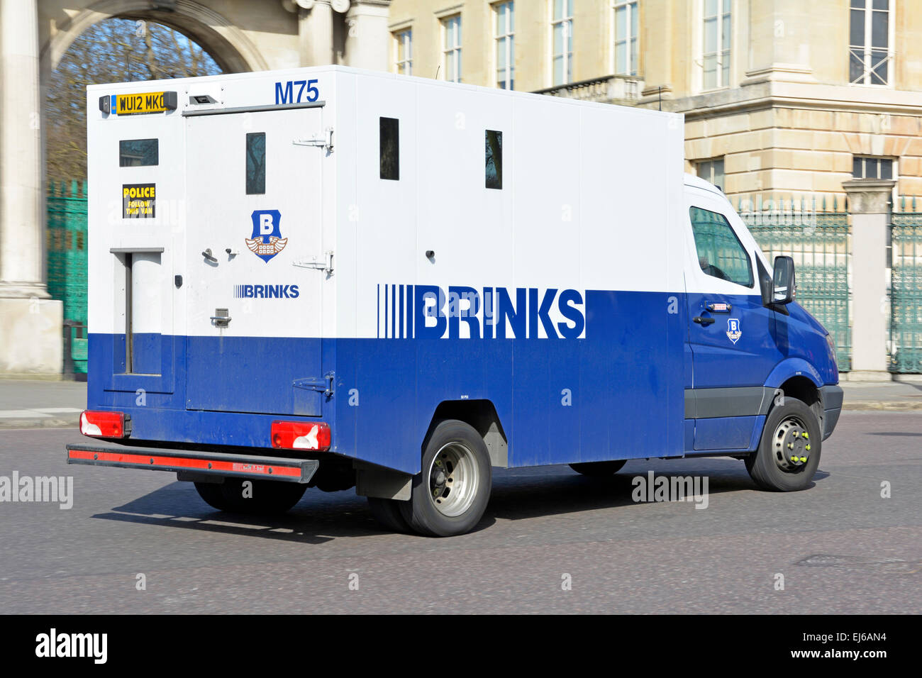 Brinks high security armored van used for moving and delivering money and valuable goods by road