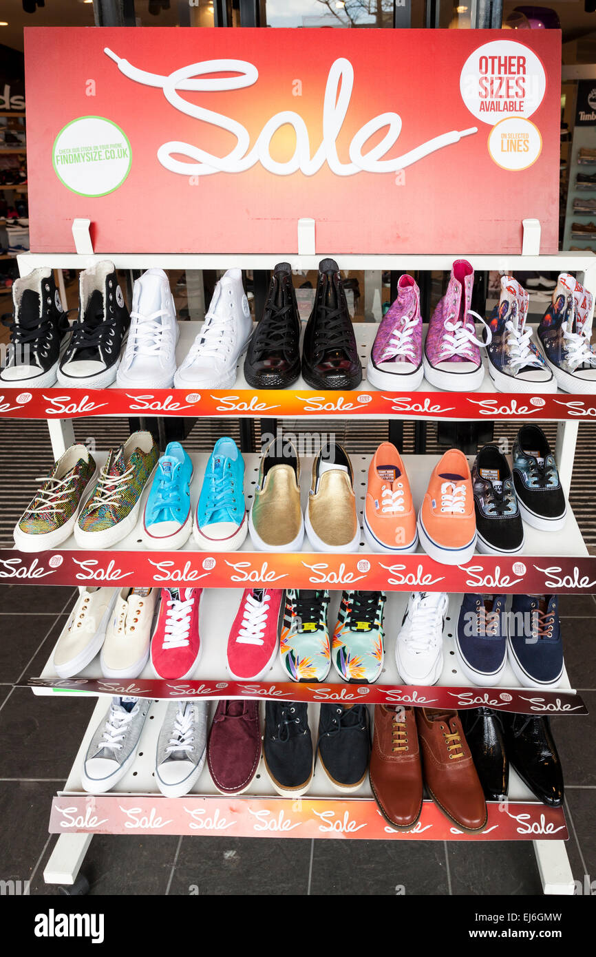 shoe sale shoes on a sale rack at the shop front schuh nottingham stock photo royalty free. Black Bedroom Furniture Sets. Home Design Ideas